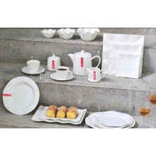 P&T porcelain factory square dinnerware plate, white ceramic, dinnerware sets