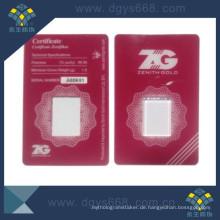 Goldmünze PVC-Kartenhülle mit Tamper Evident
