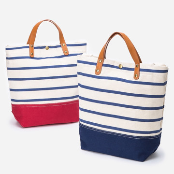 Ladies+Custom+Foldable+Stripe+Cotton+Tote+Bags+Handbag