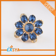 High Quality Blue Rhinestone Flower Ring Gold Design