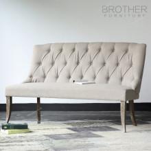 Sofá reclinável de mobiliário antigo chesterfield com tecido alto de volta