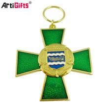 Métal fait sur commande bien partout dans le monde porte-clés de croix de paillettes