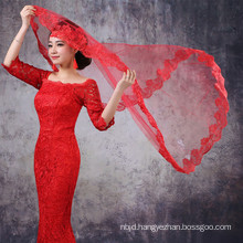 Alibaba Red White Tulle Lace Wedding Veils In Guangzhou 2017