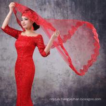 Алибаба Красный Белый Тюль Кружева Свадебные Фаты В Гуанчжоу 2017