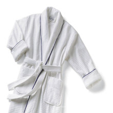 Piping Cotton Waffle with Terry Cloth Lining Bath Robe Terry Towels and Bathrobe