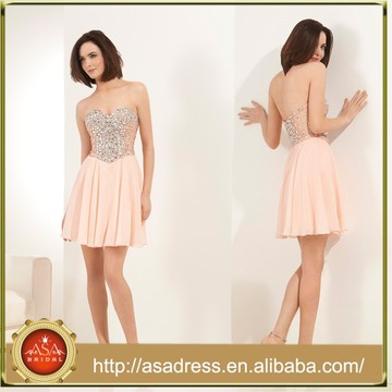 HCD 510 Classic Style 2015 Chiffon Khaki Hand Beaded Sweetheart Sexy Homecoming Dresses Sleeveless Mini Party Dress