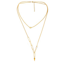 Popular star clavicle chain taper pendant irregular pearl stainless steel double layer necklace jewelry set