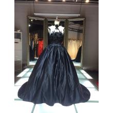 1A137 Glamourpuss Tentação de Noite Negra Vestido Puffy Bare Back Flower Corset Evening Dresss 2016