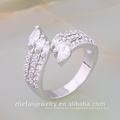 Precios al por mayor La última moda anillos de bodas musulmanes chapados en oro blanco La joyería chapada en rodio es su buena elección