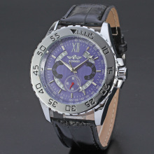 multi function winner watch with leather band
