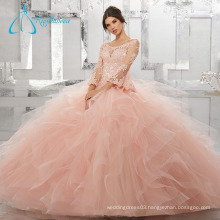 Crystal Cascading Ruffle Long Sleeve Ball Gown Quinceanera Dress