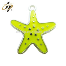 Promotional soft enamel yellow starfish metal charms and cross pendant