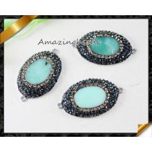 Venta al por mayor jade rebordea collar de cristal joyería colgante de moda (fx0107)