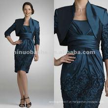Tafetá com jaqueta de falso vestido falso vestido de noiva