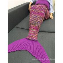 The Latest Design Popular Gradient Color Flannel Fleece Mermaid Tail Blanket