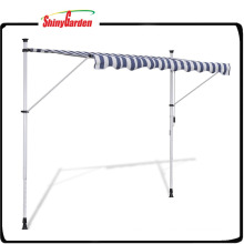 "9' 10"" Manually-operated Blue/White Waterproof Retractable Awning"