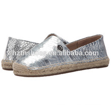 Jute Sole Espadrille Mulher 2016 Espátulas Moda Prata Casual Shoes Flat