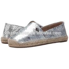 Джют Sole Espadrille женщин 2016 Мода Серебряный Espadrilles Случайные плоские туфли