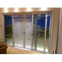 Puerta corredera de aluminio de doble vidrio templado de diseño nuevo