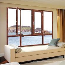 Puertas de la ventana de diseño abatible doble vidrio ventanas de aluminio.