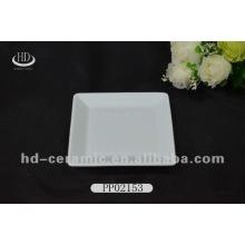 Placa de cerámica cuadrada blanca, placa de cerámica para el hotel, placa de cerámica plana del reborde