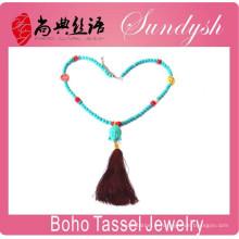 Boho Chic bijoux fait à la main Turquoise perle Bouddha Tassel collier signe de paix collier