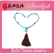Boho Chic Jewellery Handmade Turquoise Bead Buddha Tassel Necklace Peace Sign Necklace