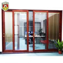 Foshan supplier 2.0mm thick heavy duty double glazing aluminium main entrance sliding door