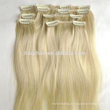Grampo louro da cor da extensão do cabelo humano do russo de Remy do preço de grosso em extensões do cabelo humano
