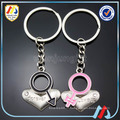 Брелок для ключей с сердечком, металлическая пара