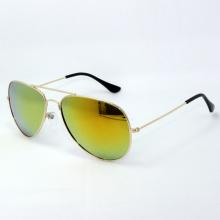 Óculos de sol de metal com lentes de espelho cinza