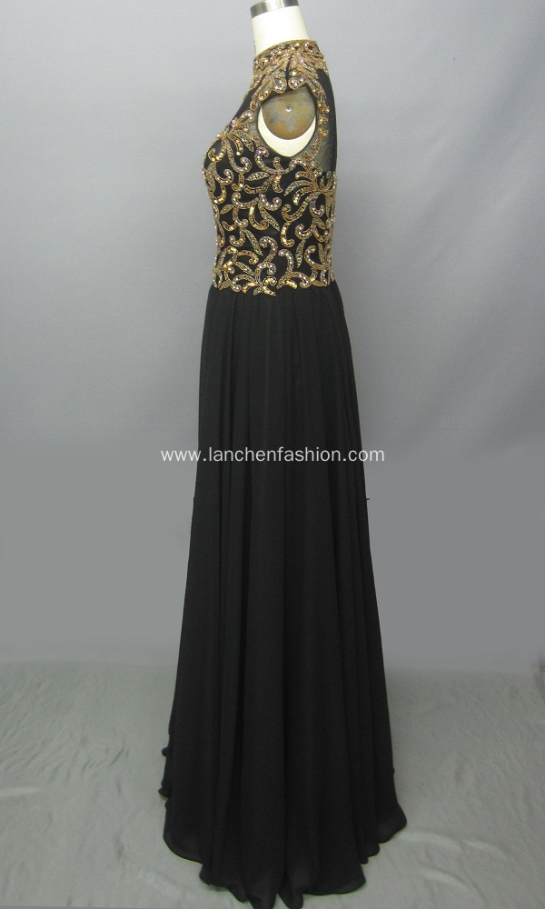 High Neck Shimmering Beaded Prom Evening Dress