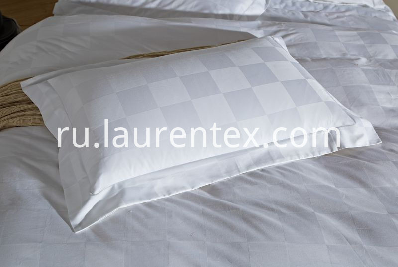 100% 300TC-sateen-pillow case-white-5-star-hotel-bed-sheet-plaid-bedding-set-king