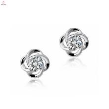 Venta al por mayor Sterling Silver Cz Stud Earrings Flower 925 Sterling