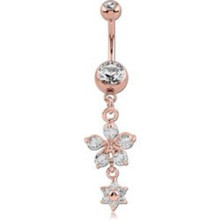 Rose Gold Double Jeweled Belly Ring Flowers