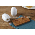 Hot sale round shape white color kitchen ceramic cruet set with bamboo rack