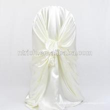 Silla auto atado raso baratos y de lujo cubierta/decorativa atada detrás de la silla del satén cubierta para hotel de banquete de boda