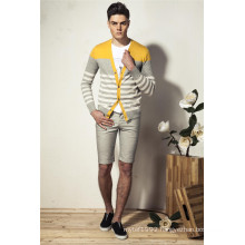 100%Cotton V-Neck Striped Knit Men Cardigan with Button