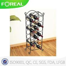 Alambre de metal acabado negro pie sostenedor del estante del vino