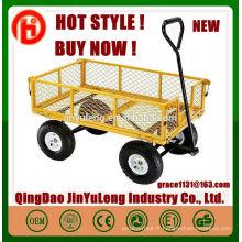Remorques de wagon en acier jaune jardin maille panier chariot wagon de jardin TC1859