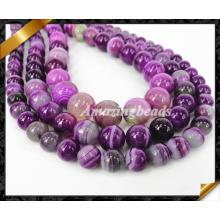 Perle lisse en forme d'agate à rayures rondes de 8 mm, perle de strass de mode pour la fabrication de bijoux, perles en pierre (AG020)