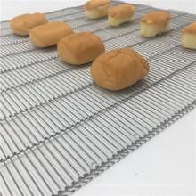 Correia transportadora de malha de arame flexível plana para secagem de padaria