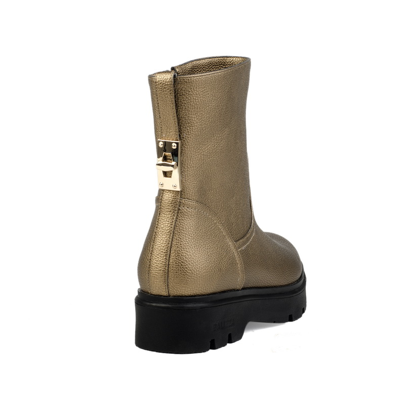 Gold PU ankle boots shoe for girl