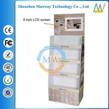 affichage de plancher de carton avec l'écran d'affichage à cristaux liquides de 8 pouces