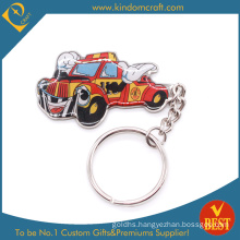 High Quality Customized Car Shape Printed Metal Key Chain with Epoxy in Cool Style