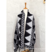 Women′s Cashmere Like Classic Knitted Winter Geometry Printing Shawl Scarf (SP309)