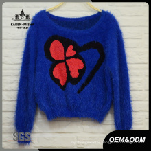 Women Clover Blue Crop Sweater
