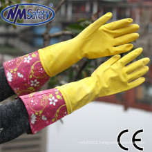 NMSAFETY yellow latex household cleaning gloves
