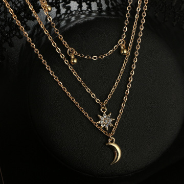 Fashion Women Necklace Moon Charms Necklace for Ladies