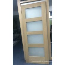 Porta interior em vidro fosco de madeira para casa de banho